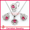 Carraton SXF3003 White Gold Plated Brass Roseo Stone Jewelry Sets Free Shipping