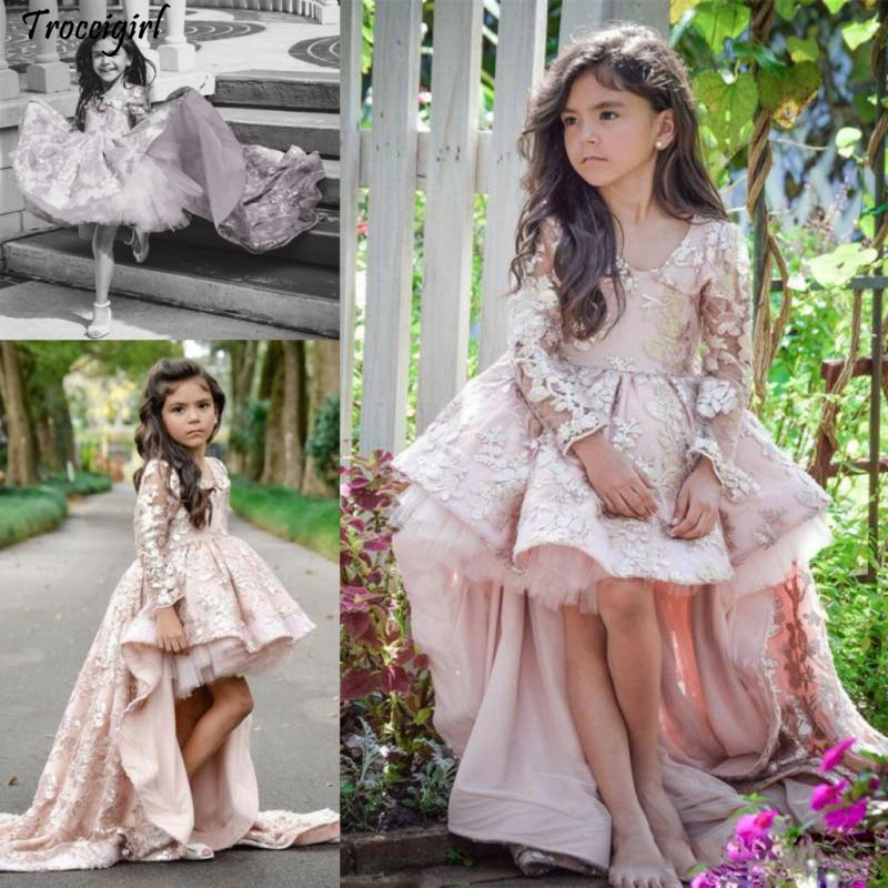 Pink High Low Long Sleeve   Flower     Girl     Dresses   V Neck Lace Applique Ruffles   Girls   Pageant Gowns Children A Line Kids Prom Party