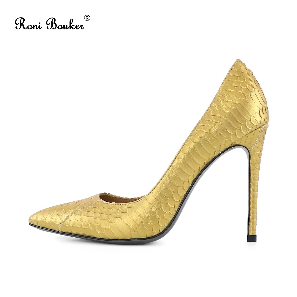 De Size42 Black Serpent Pointu Stilettos Femmes Noce red Bureau Peau Véritable Talons Mode Grande Pompes gold Femme Bouker Orteil Chaussures Roni gqUTII
