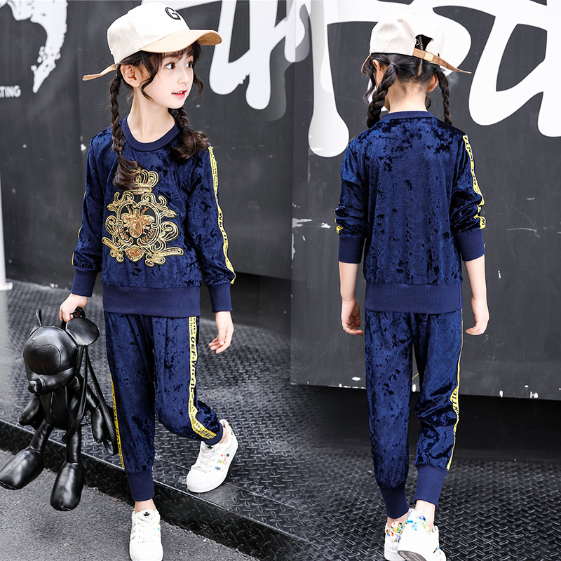 Children Clothing Sets Fashion Spring Autumn Kids Casual Boy / Girl Crown Diamond velvet suit Character T-shirt Pants 2pcs Sets