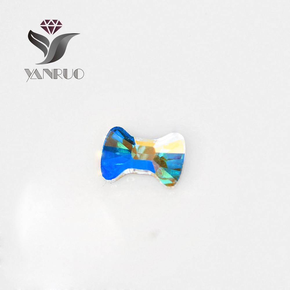 YANRUO 72pcs 5X6mm Crystal AB 3D Bow Tie Nail art Rhinestone Strass DIY Flat Backs No Hotfix Crystals Rhinestones