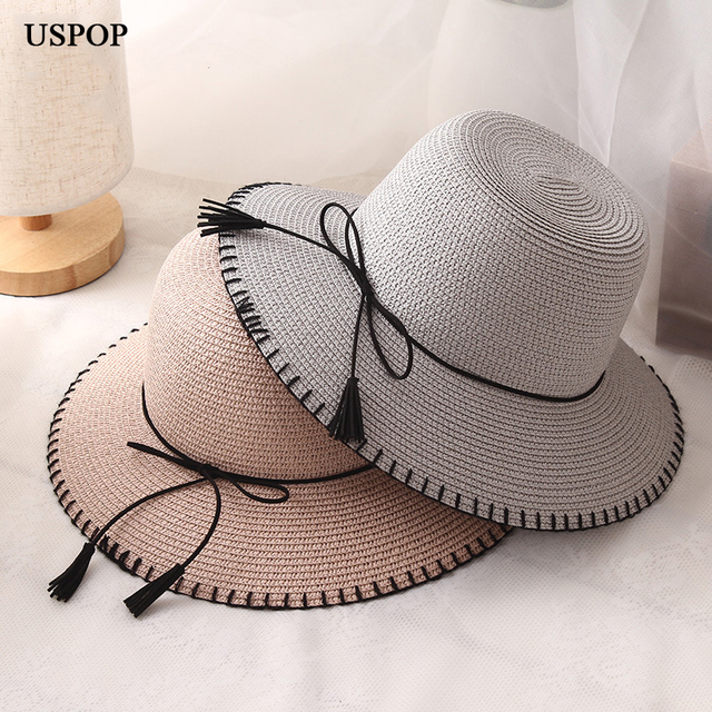 USPOP 2018 donne di Modo cappelli di sun donna pieghevole tesa larga  cintura in pelle nappa ae402687b819