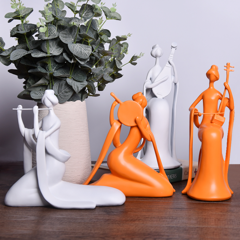 Chinese beauty figure play musical instruments ornaments traditional home decorations resin crafts creative figurines