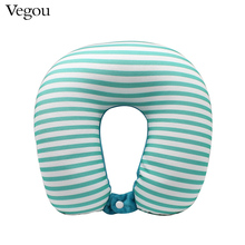 Vegou Microbeads U Shape neck Pillow stripe transfer printing travel pillows massager with button, kissen foam body pillow