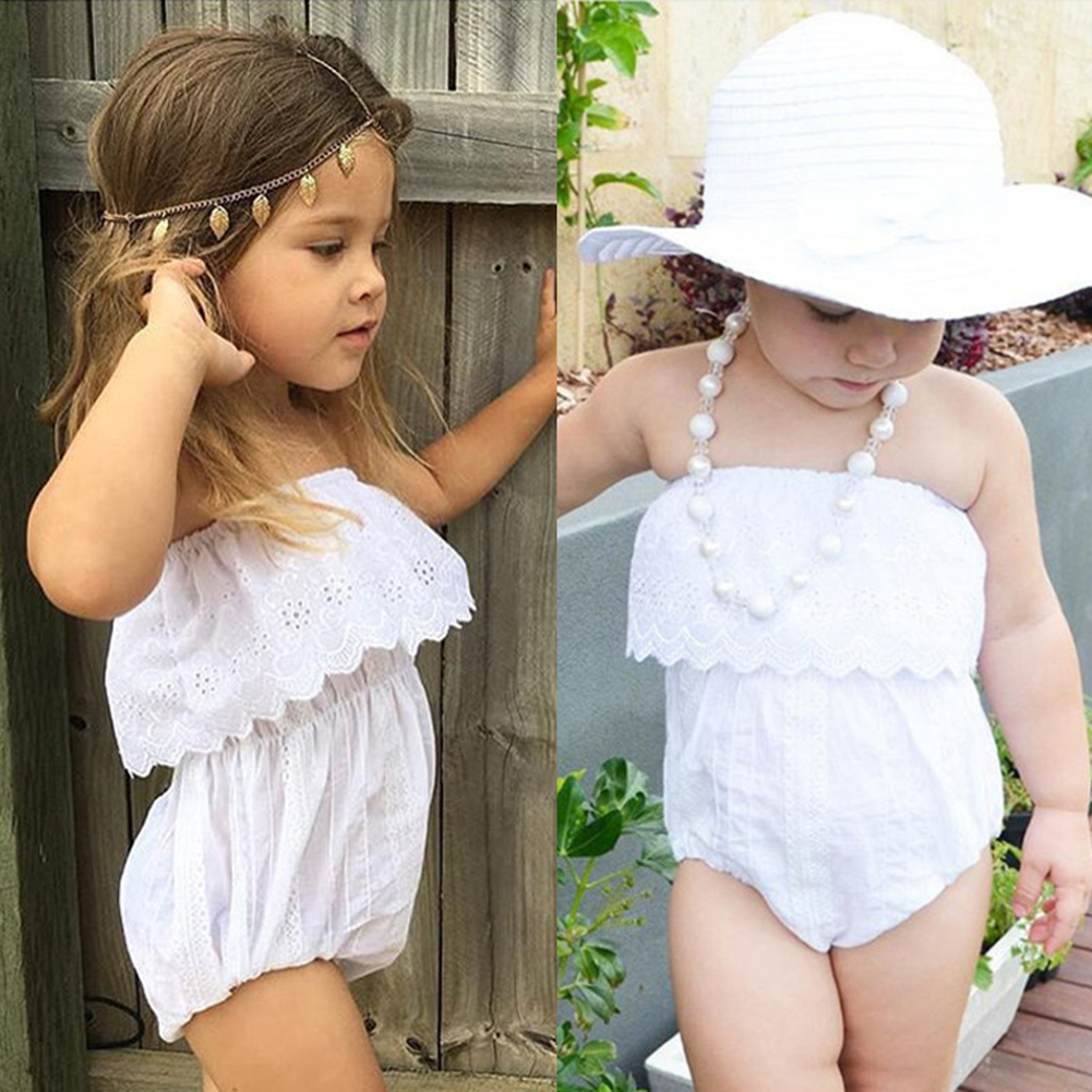 Fashion Summer Baby Rompers Toddler Girls White Off Shoulder Lace Floral Rompers Jumpsuit Sunsuit Clothes for Girls 1-4Y 2017 summer toddler kids girls striped baby romper off shoulder flare sleeve cotton clothes jumpsuit outfits sunsuit 0 4t