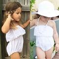 Nova Chegada do Verão Do Bebê Dos Miúdos Da Criança Meninas Brancas Fora Do Ombro Macacão Macacão Sunsuit Roupa Para 1-4Y