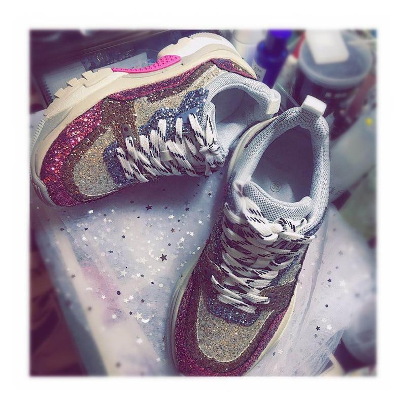 Bling Up Styles Plates formes Luxe Dentelle Chaussures Mode 2018 Couleurs Ultra Mélangées De Glitter Rose Femmes Concepteur Sneakers Rue w48Bq1xw