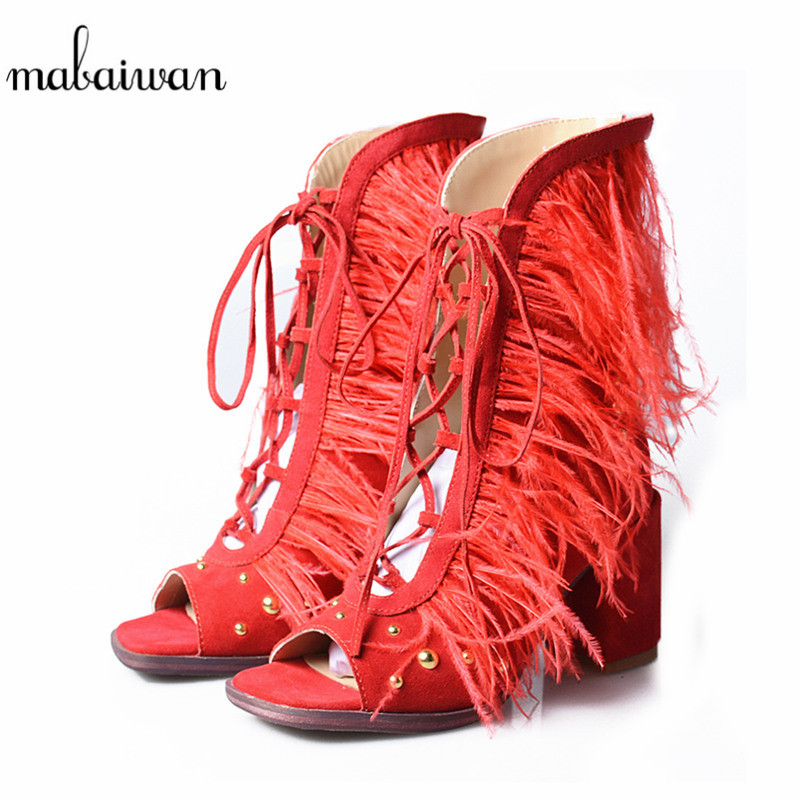 Mabaiwan Casual Women Shoes Summer Ankle Boots Thick High Heels Sandals Genuine Leather Peep Toe Shoes Woman Zip Gladiator Pumps women peep toe sandals summer platform wedge invisible high heels boots rome style side zip casual shoes woman silver blue white