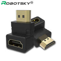 2PCS HDMI male to HDMI female cable adaptor converter V1.4 1080P for HDTV 90 degree hdmi connector High quality