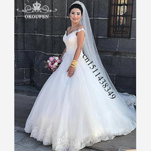 OKOUFEN Off Shoulder Long Wedding Dress For Women 2019