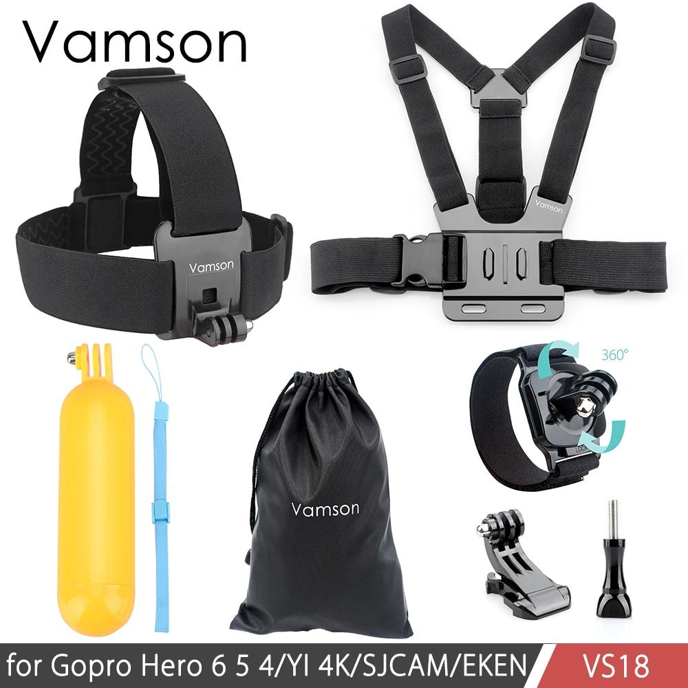 Vamson pour Gopro Hero 6 5 4 3 Accessoires Ensemble Sangle De Poitrine Floaty Bobber Manfrotto Tête Ceinture Mont pour SJCAM pour Xiaomi pour Yi VS18