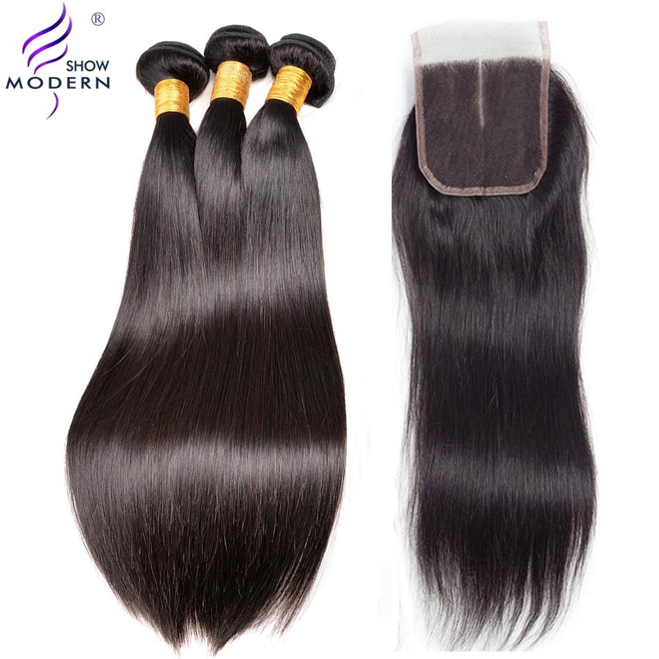 Straight Hair 3 Bundles With Closure Malaysian Human Hair