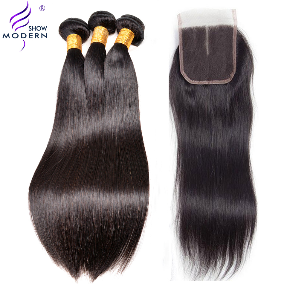 Straight Hair 3 Bundles With Closure Malaysian Human Hair Bundles With Closure Middle Part 4pcs/lot Modern Show Weave Non Remy