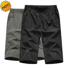 HOT 2019 Summer Thin Knee Length Loose Quick Dry wear middle-aged mens young tooling beach short Trousers Plus Size 5XL