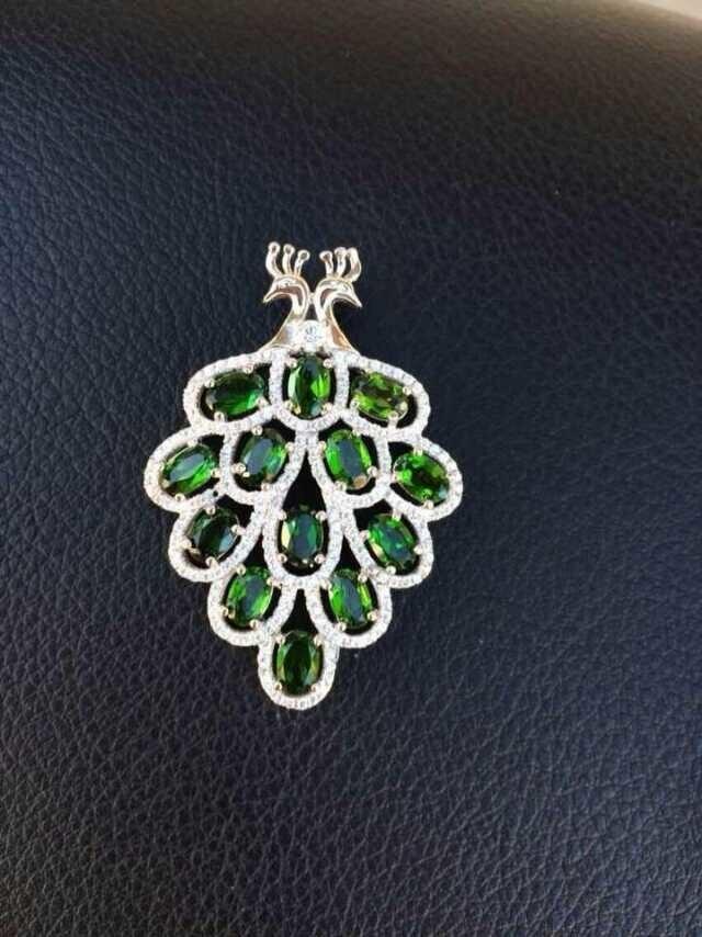 Natural green diopside stone stone pendant S925 silver Natural Gemstone Pendant Necklace elegant peacock women fine jewelry недорго, оригинальная цена