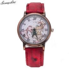 Hot Retro Men Women Watches World Map Design Analog Quartz Unisex wristwatch wholesale F3