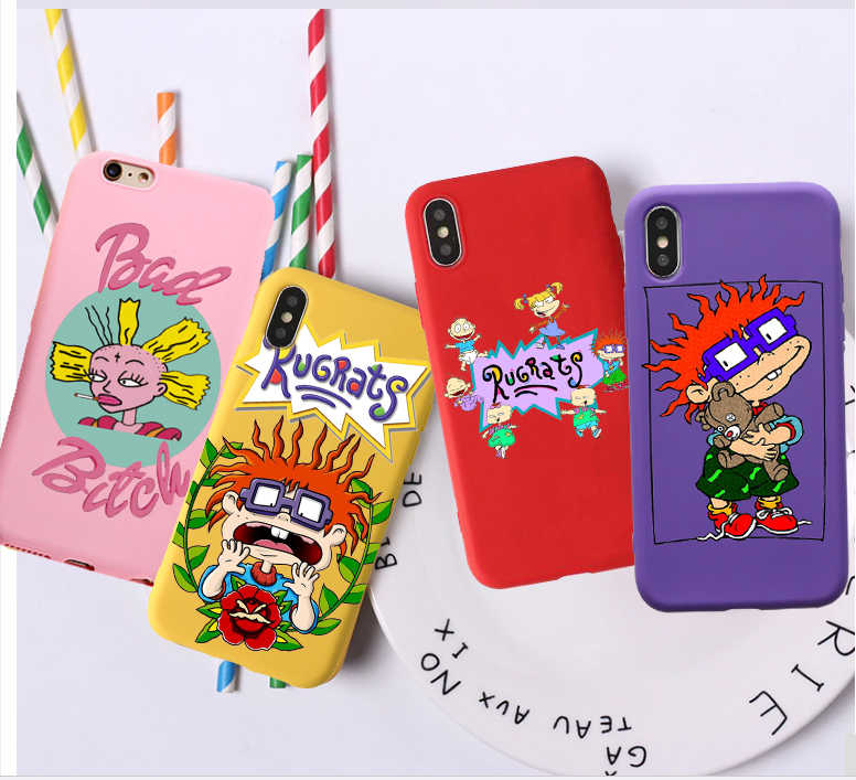 cartoon Rugrats amine lovely Candy Color TPU Case phone For iphoneX 7 8 XS XR XSMAX Red Yellow White Cover