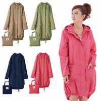 Gabardina larga fina para Mujer, impermeable, con capucha, capa de lluvia, capa de Ponchos