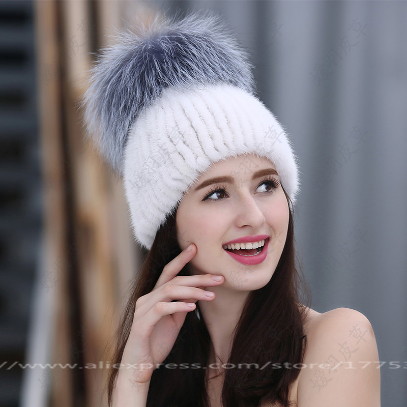 Russian Fashion Ms. Mink knitted Cap with Fox Fur PomPom Ball Womens Autumn Winter Warm Wear Hat Straw Hat Keep Warm Hat H#03 new autumn winter warm children fur hat women parent child real raccoon hat with two tails mongolia fur hat cute round hat cap