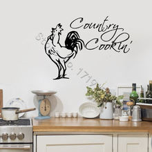 Rooster Decor Wall Decal Quotes Country Cooking Stickers Kitchen Interior Art DIY ZW453