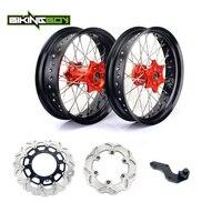 BIKINGBOY 3.5*17 5.0*17 Front Rear Supermoto Wheel Rim Hub for KTM EXC SXF MXC 200 250 300 400 450 Brake Discs Disks + Bracket