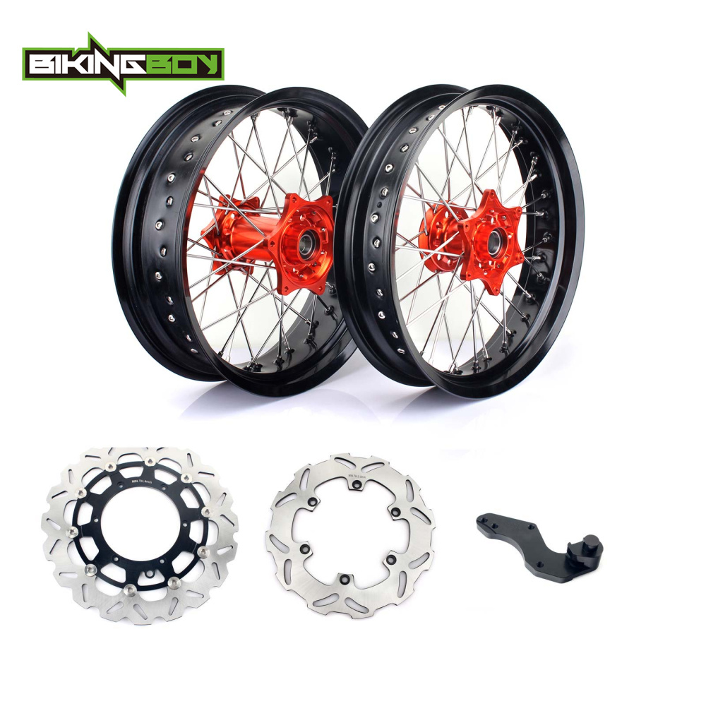 BIKINGBOY 3.5*17 5.0*17 Front Rear Supermoto Wheel Rim Hub for KTM EXC SXF MXC 200 250 300 400 450 Brake Discs Disks + Bracket