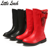 Spring Winter Children Mid Calf Boots Genuine Leather +PU Bowknot Tassel Shoes Princess Flat Boots Size 26 37 Black Red Botas