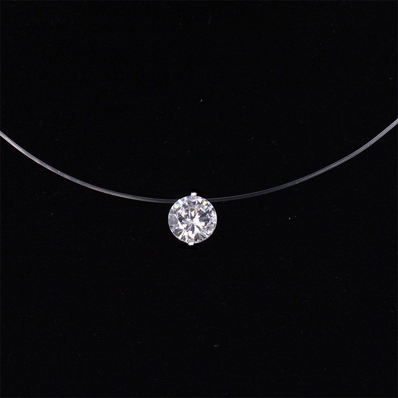Women Transparent Fishing Line Necklace Invisible Chain Necklaces pendants Rhinestone Choker Necklaces Collier Femme(China)