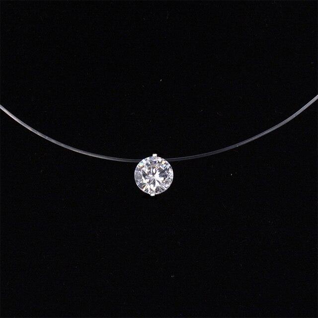 88f0f10e3e55 Collar de línea de pesca transparente de plata Invisible cadena collares  colgantes de diamantes de imitación