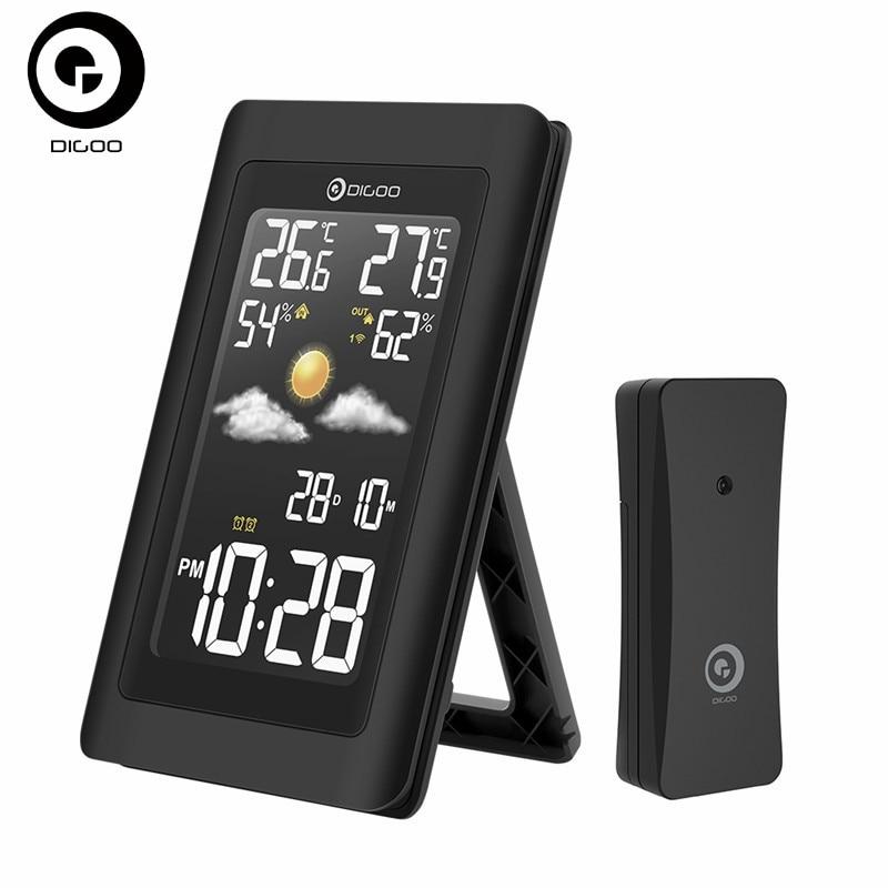 Digoo Igrometro Termometro Stazione Meteo DG-TH11300 Wireless HD Negativo Dello Schermo USB Esterna VA Vetro Previsioni Orologio Sensore