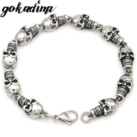 GOKADIMA Fashion Biker Schedel Armband Man 316L Rvs Sieraden Punk Rock Stijl Party Gift WB074