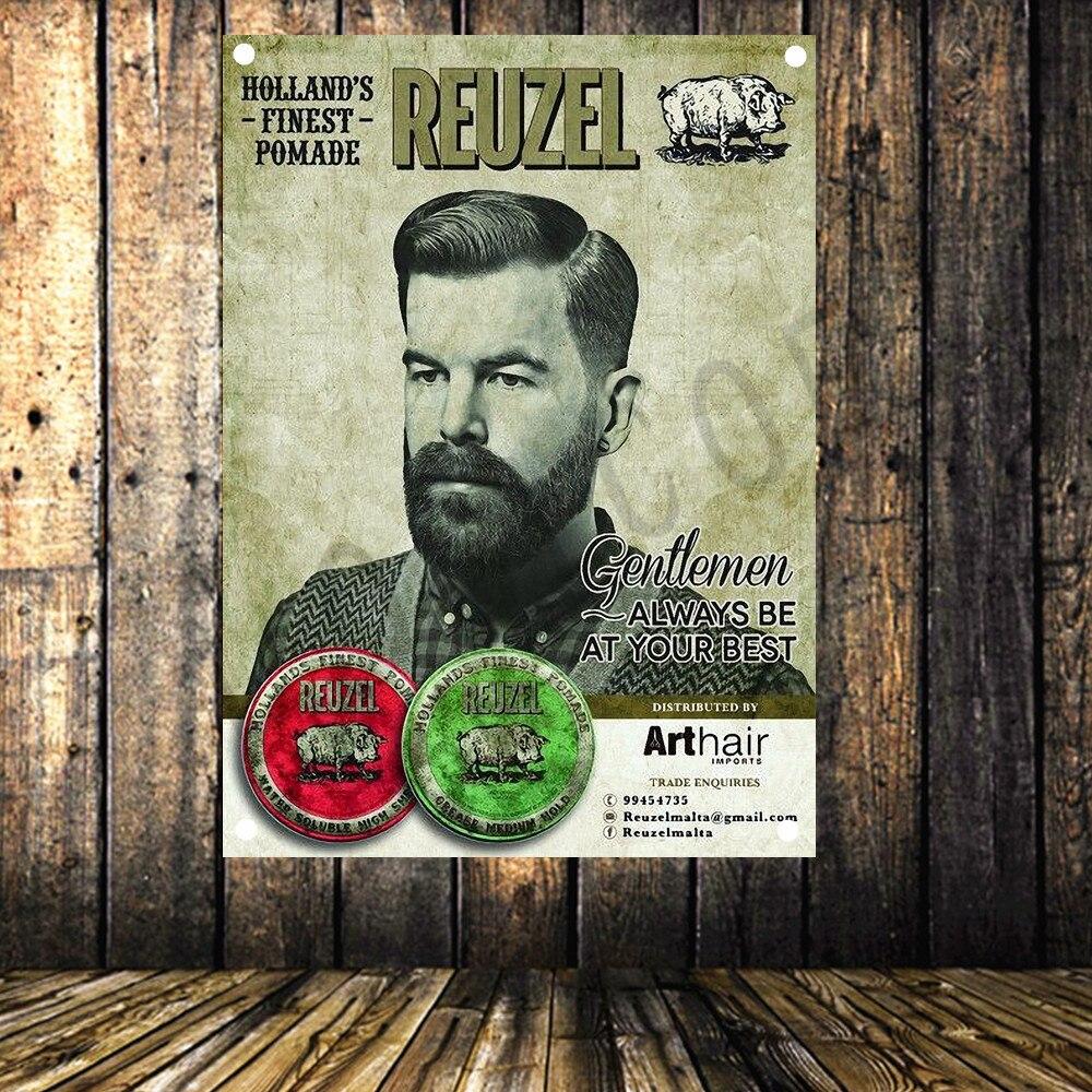100% Vero Vintage Barber Negozio Di Poster Di Alto Livello Di Arte Del Panno Impermeabile Pittura Grande Bandiera Banner Arazzo Wall Stickers Murale Decorazione Della Parete Prezzo Moderato