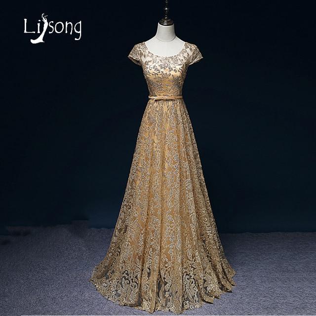 Gold Evening Dress Long Women A-line Modern Maxi Gowns Vestidos de Festa  Vestido Longo Evening Party Dresses Long Short Sleeves 1f8d80c46928