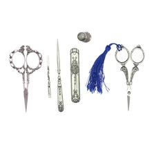 6 uds tijeras para bordados y para coser, dedal, estuche de aguja, Europeo, Vintage, plateado