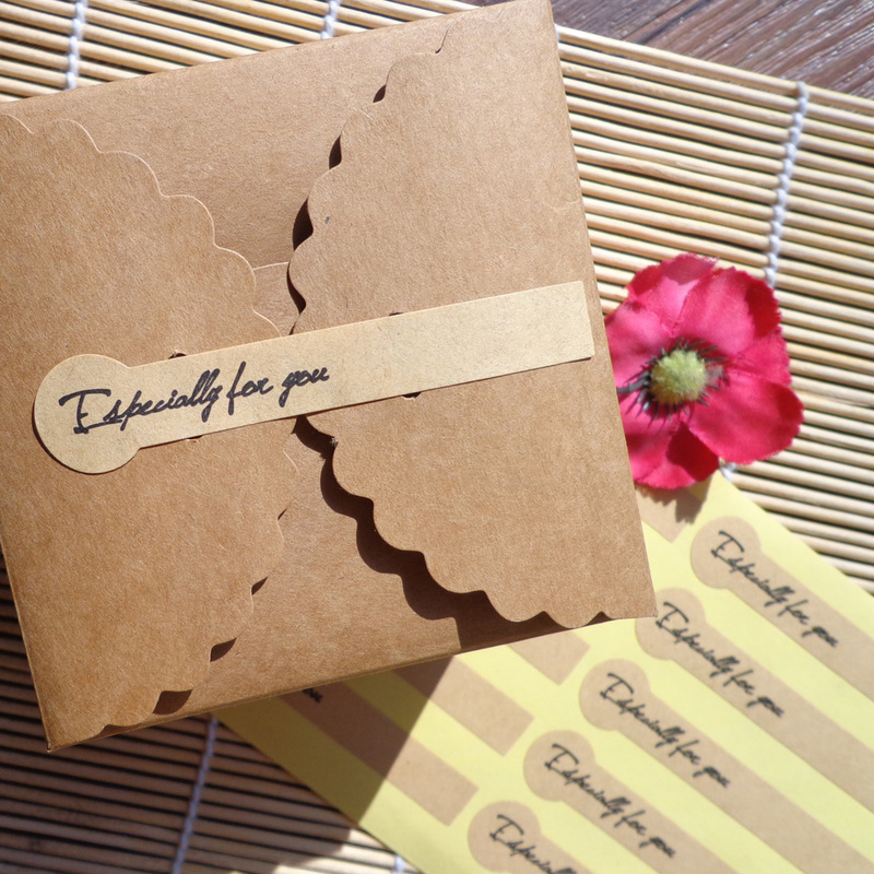100pcs Especially For You Long Kraft Paper Sticker Scrapbooking Labels Gift Sticker, Self-adhesive DIY Paper Label 7.8x1.5cm
