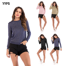 YYFS 2019 New Cotton Elegant Office Lady Rope Knitted Trim Long Sleeve Solid Pullovers Tee Autumn Casual Women T-shirt And Tops