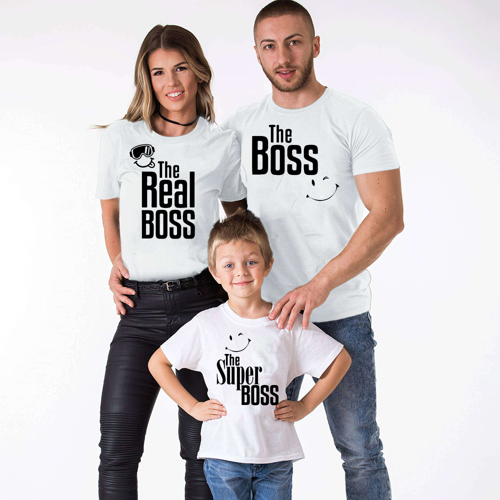 The Boss Real Boss and Super Boss Matching Family T Shirts Mommy Daddy Kids T-Shirt Family Clothes Child Tees Letter Print Tops