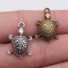 WYSIWYG 10 pièces 22x14mm Antique couleur argent Antique Bronze pendentifs tortue Vintage pendentifs tortue breloque tortue