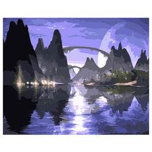 RIHE Beautiful Scenery Painting By Numbers Night Sky DIY Oil On Canvas Cuadros Decoracion Acrylic Paint wall Art40x50cm