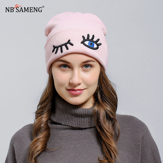 e9b7e05095290 Winter Warm Women Beanie Funny Eyes Embroidered Knitted Woolen Hat High  Quality Unisex Cap Balaclava
