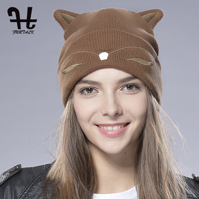 FURTALK Winter   Beanie   Hat for Women Kids Cute Wool Knitted Watch Cap Autumn Girls Cat Ear Hat Cuff Brimless   Skullies   Hat
