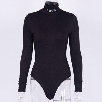 InstaHot Cotton Turtleneck Letter Print Bodysuits   5