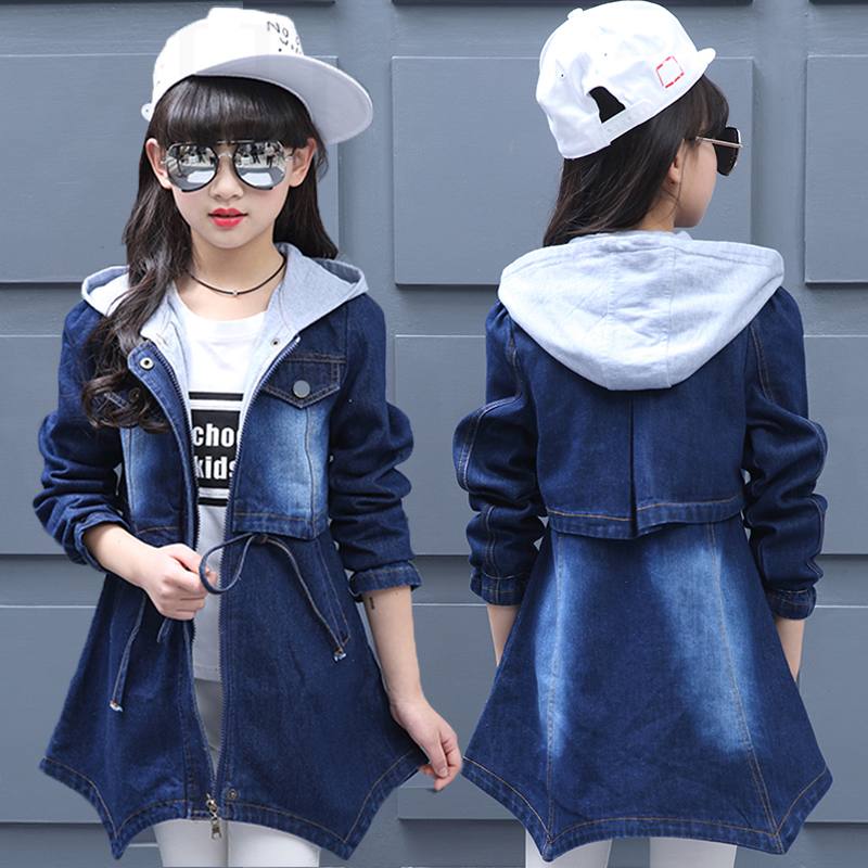 Big Girls Denim Clothing Children Coats Baby Kids Hooded Overcoats 2018 Child Spring Outwear Autumn Long Jackets Casual Tee Tops 2 14y children clothing spring 2018 big girl denim jackets children jeans coats kids coats for girls outerwear kids clothes tops