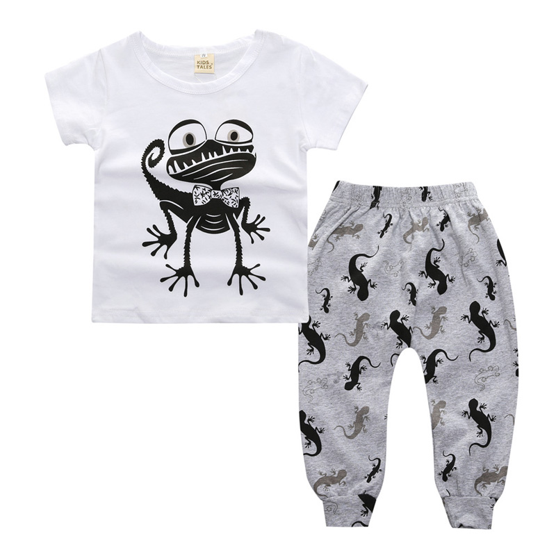 New Style Baby Boy Clothes Sets Cartoon Baby Set Short Sleeve Tops+Pants 2 pcs Cotton Clothes For Baby Autumn Infant Clothing