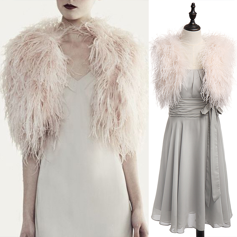 aa6bd4ae246 100% Blush Pink Ostrich Feather BRIDAL BOLERO Fur Jacket For Lady Women  Evening Gown Wedding dress Bridesmaid Fur Wrap Shawls-in Real Fur from  Women's ...
