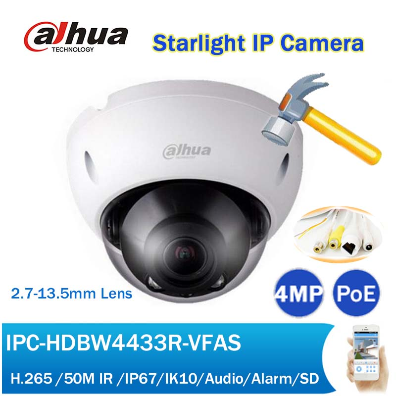 DH IPC-HDBW4433R-VFAS 4MP Starlight IP Camera 50M IR 2.7-13.5mm Manual Varifocal CCTV PoE Network Camera with SD Slot h 265 264 ipc lwirdnts400s 4mp ip camera 2 8 12mm varifocal manual zoom lens 4mp ir 30m with sd card slot poe network camera