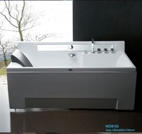 Leaning Against the Wall Fiber glass Acrylic whirlpool bathtub Rectangular Hydromassage Tub Nozzles Spary jets spa RS6153