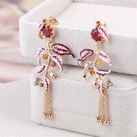 France Les Nereides Enamel Glaze Raspberry Series Red Fir Tree Branches Pearl Tassel Women Stud Earrings