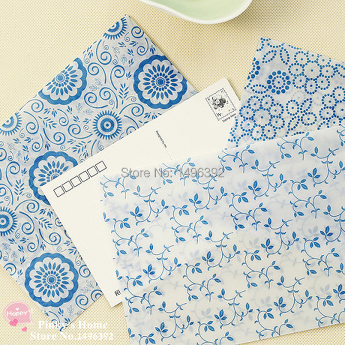 (10 pieces/lot) Chinese Blue and White Porcelain Retro Postcard Envelop Letter Pad Greeting Cards Translucent Envelopes