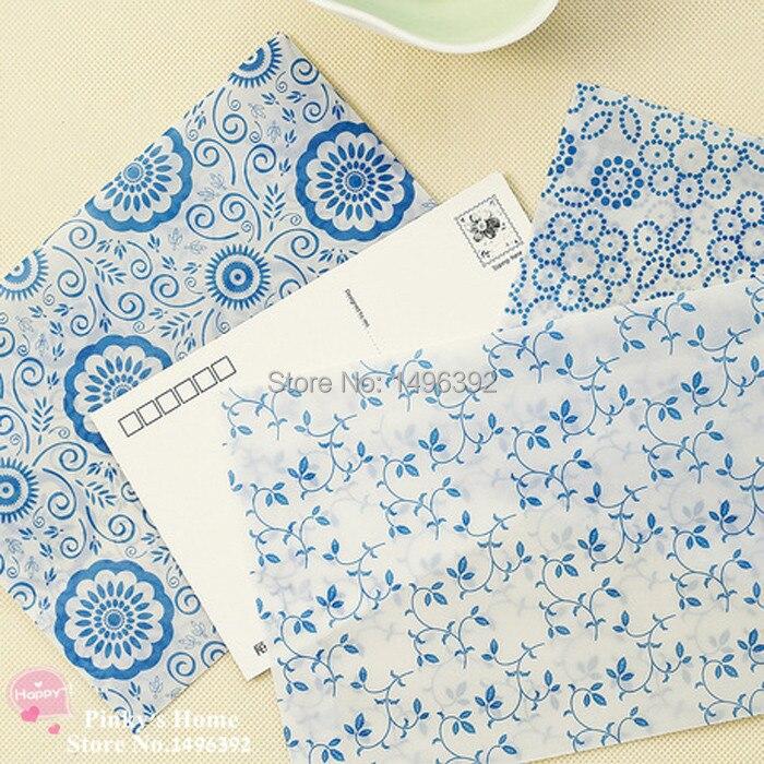 (10 Pieces/lot) Chinese Blue And White Porcelain Retro Postcard Envelop Letter Pad Greeting Cards Translucent Envelopes